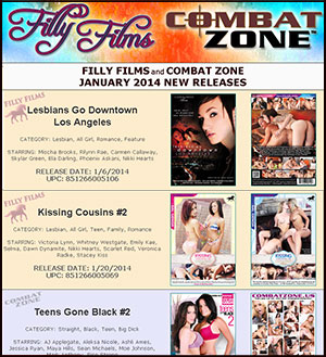 Filly Films and Combat Zone January 2014 New Releases